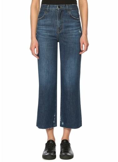J Brand Yüksek Bel Cropped Paça Jean Pantolon Mavi